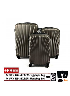 3-In-1 Hard Case Shell Curve Shape Luggage - Dark Brown
