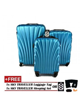 3-In-1 Hard Case Shell Curve Shape Luggage - Light Blue