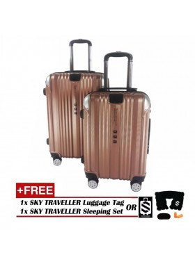 2-in-1 Premium 002 Universal Wheels Luggage - Rose Gold