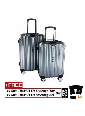 2-in-1 Premium 002 Universal Wheels Luggage - Silver