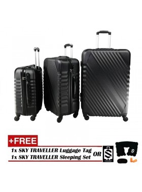 3-In-1 Hard Case Slash Design Luggage - Black