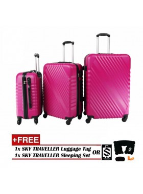 3-In-1 Hard Case Slash Design Luggage - Rose Pink