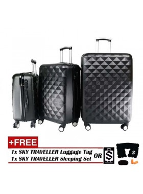 3-In-1 Hard Case Diamond Luggage - Black
