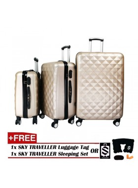 3-In-1 Hard Case Diamond Luggage - Gold