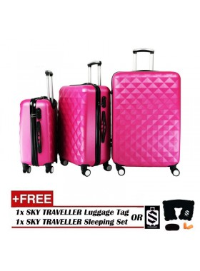 3-In-1 Hard Case Diamond Luggage - Rose Red