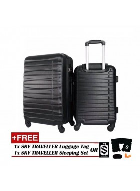 2-In-1 Luggage Set Travel Case Suitcase - Black