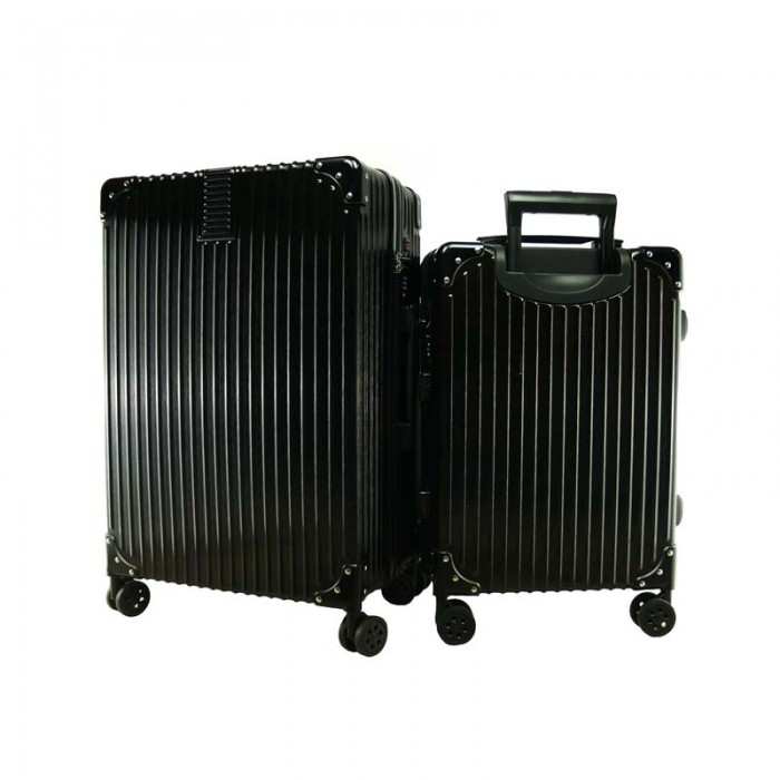2 In 1 Aluminium Frame Classical Luggage Set Black