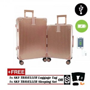 2-In-1 Aluminium Frame Classical Luggage Set - Rose Gold