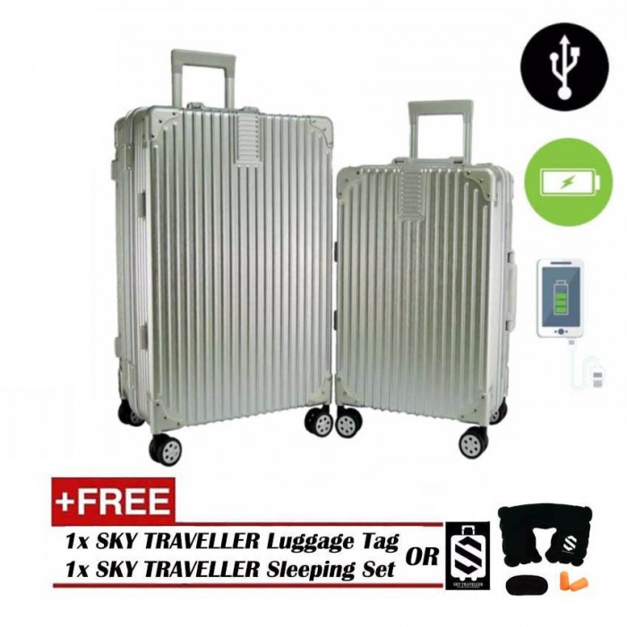 2 In 1 Aluminium Frame Classical Luggage Set Silver
