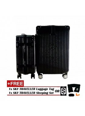 2-In-1 Premium Ultralight Vintage Style Luggage Set - Black