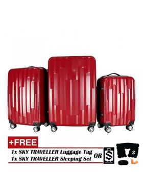 Vogue 3-In-1 Fancy Design Luggage Set - Red