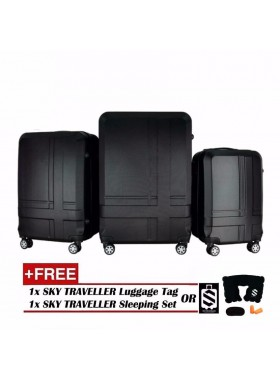Premium ABS 3-In-1 Texture Surface Luggage Set - Black