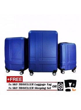 Premium ABS 3-In-1 Texture Surface Luggage Set - Blue