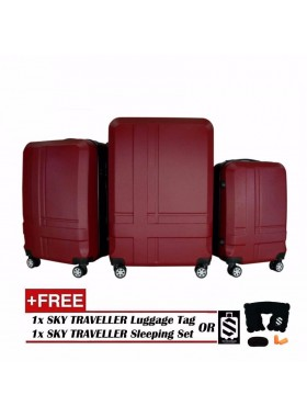 Premium ABS 3-In-1 Texture Surface Luggage Set - Red