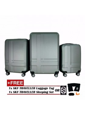 Premium ABS 3-In-1 Texture Surface Luggage Set - Silver