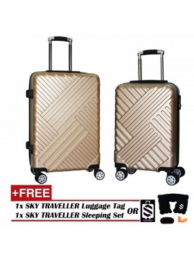 Premium Elegant Striped ABS+PC Luggage With 8 Wheels Spinner - Gold