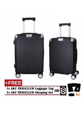 Portrait Stripe Luggage Rolling Luggage Spinner Travel Suitcase With Protect Cover 20Inch - Black