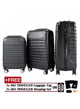 3-In-1 Premium Gorgeous Solid Hard Case ABS+PC With 8 Wheels Spinner - Black