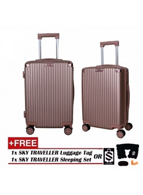 Portrait Stripe Luggage Rolling Luggage Spinner Travel Suitcase With Protect Cover 20Inch - RoseGold