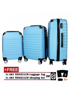 3-In-1 Premium Gorgeous Solid Hard Case ABS+PC With 8 Wheels Spinner - Blue