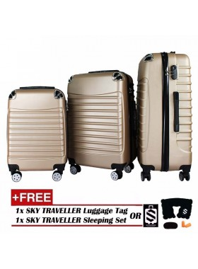 3-In-1 Premium Gorgeous Solid Hard Case ABS+PC With 8 Wheels Spinner - Gold
