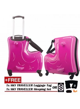Children Kids Luggage 20Inch Trolley Case Caster Pull Rod Box Spinner Rolling Luggage - Pink