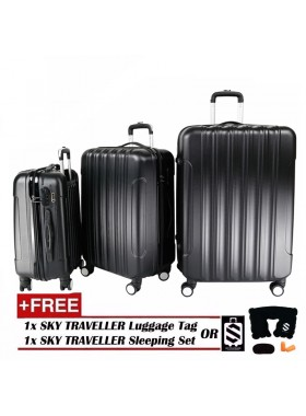 Big Stripe 3-In-1 Ultralight Luggage Set - Black