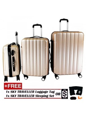 Big Stripe 3-In-1 Ultralight Luggage Set - Gold