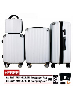 4-In-1 Luxurious Expandable ABS With 8 Wheels Universal Spinner - White