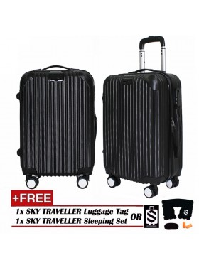 Premium Texture Stripe Line Surface Luggage With 8 Wheels Spinner (20Inch)