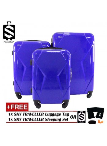 High Quality 3-In-1 Glossy Surface Premium Luggage Set With 8 Wheels - Blue
