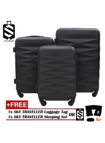 High Quality 3-in-1 ABS Premium Abstract Pattern Luggage Set With 8 Wheels - Black