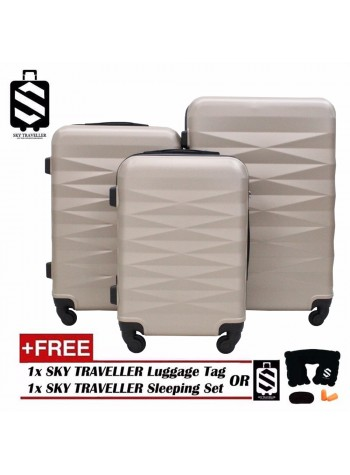 High Quality 3-in-1 ABS Premium Abstract Pattern Luggage Set With 8 Wheels - Gold