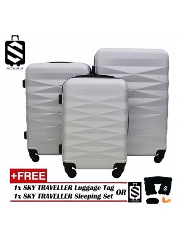 High Quality Exquisite Noble 3-In-1 Luggage With 8 Wheels Set - Silver