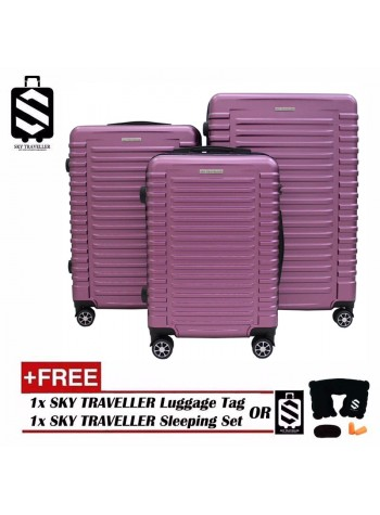 G-Series Premium 3D Wide Horizontal Line Design Dot Texture Surface 3 in 1 Luggage Set With TSA Lock - Purplish Red