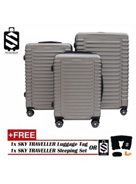 G-Series Premium 3D Wide Horizontal Line Design Dot Texture Surface 3 in 1 Luggage Set With TSA Lock - Champagne