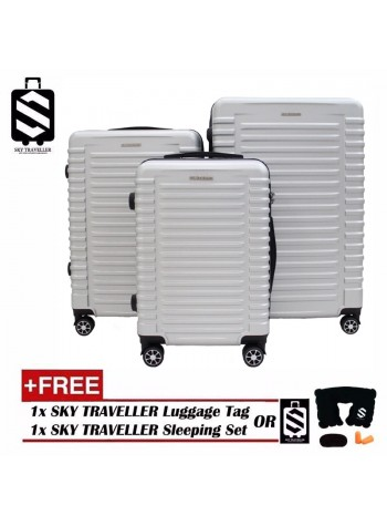 G-Series Premium 3D Wide Horizontal Line Design Dot Texture Surface 3 in 1 Luggage Set With TSA Lock - Silver