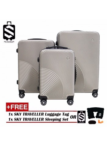 G-Series Premium 3D Narrow Curve Line Texture Surface 3 in 1 Luggage Set With TSA Lock - Champagne