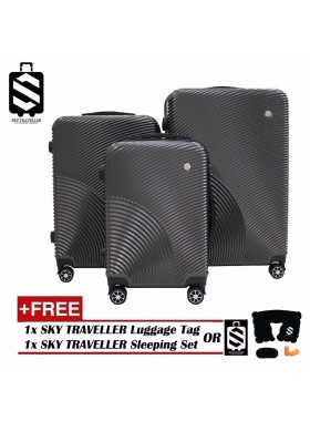 G-Series Premium 3D Narrow Curve Line Texture Surface 3 in 1 Luggage Set With TSA Lock - Dark Grey
