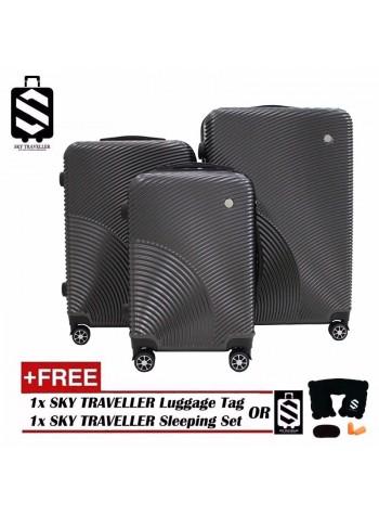 G-Series Premium 3D Narrow Curve Line Texture Surface 3 in 1 Luggage Set With TSA Lock - Dark Grey