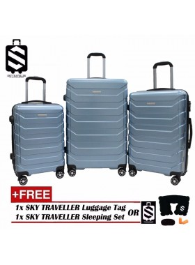G-Series Premium 3D Wide Horizontal Curve Line Texture Surface 3-in-1 Luggage Set With TSA Lock - Blue