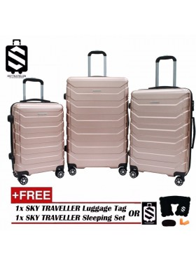 G-Series Premium 3D Wide Horizontal Curve Line Texture Surface 3-in-1 Luggage Set With TSA Lock - RoseGold