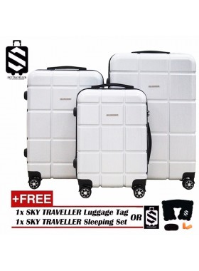 G-Series Premium 2D Silver Pinstripe Line Texture Surface 3-in-1 Luggage Set With TSA Lock - White