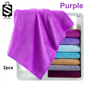 SKY324 2pcs Super Absorbent Car Wash Microfiber Towel Car Cleaning Drying Cloth Large Size Car Care Cloth Detailing Towel (75cm x 35cm) - Purple