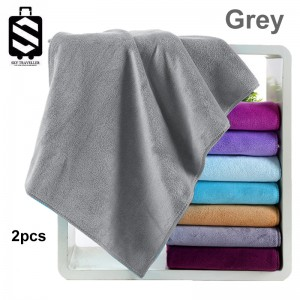 SKY324 2pcs Super Absorbent Car Wash Microfiber Towel Car Cleaning Drying Cloth Large Size Car Care Cloth Detailing Towel (75cm x 35cm) - Grey